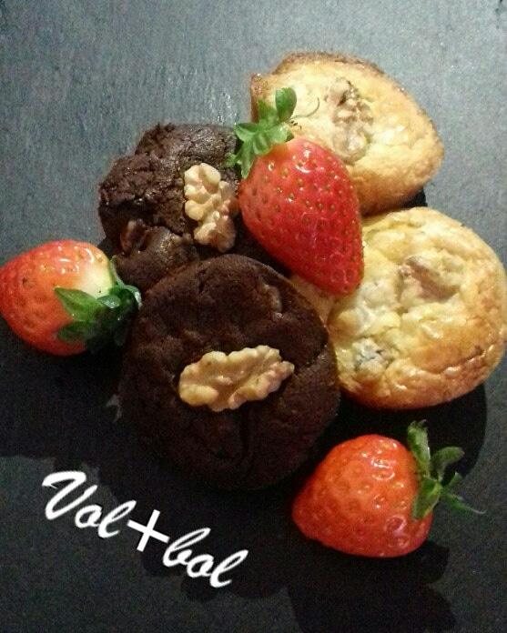 MINI BROWNIES DE DOS CHOCOLATES